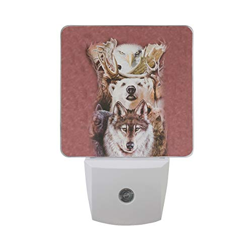 - Led Night Light Northern Wildlife Collage Auto Senor Dusk to Dawn Night Light Plug in for Kids Baby Girls Boys Adults Room