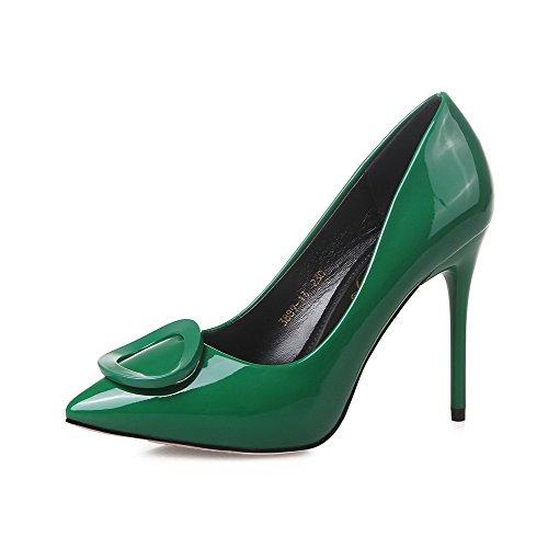 Aalardom Womens Punta-punta Pull-on Solidi Spikes-tacchi A Spillo Pompe-scarpe Verde-10cm