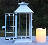 Seraphic Country Style White Rustic Metal Lantern