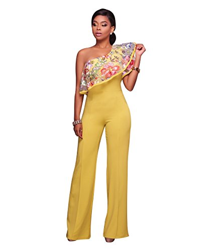 Women's Sexy One Shoulder Floral Embroidery High Waisted Wide Leg Jumpsuits Rompers Yellow, Large - Knit Ruffle Pants