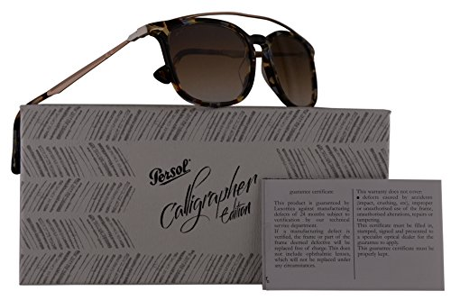 Persol PO3173S Calligrapher Edition Sunglasses Blue Beige Brown Havana Gold w/Brown Gradient Lens 54mm 105851 PO 3173-S PO3173-S PO - Cheap Sunglasses Persol