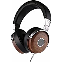 SIVGA Wood Open Back Wired Over Ear Stereo Headphones with Mic and Volume Control, HiFi Wooden Headset with Comfortable Ear Cushion and Unique Wood Grain, SV005 Walnut Wood