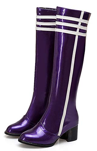 Cuissardes Hiver Fermeture Eclair Bottes Femme Violet Bloc Aisun Mode Talon f7REnf0q
