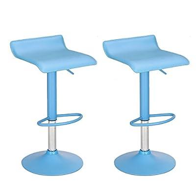 2016 NEW Adeco Pine Blue Acrylic Hydraulic Lift Adjustable Micro Back Barstool Chrome Finish Pedestal Base (Set of two)