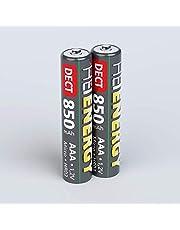 HEITECH - Pilas AAA Micro 850 mAh 1,2 V NiMH – 2 Pilas Recargables DECT para teléfono inalámbrico con Baja autodescarga – Baterías para Dispositivos con Alto Consumo de energía