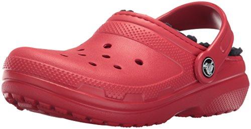 Red Kids Clogs - crocs Classic Lined Clog (Toddler/Little Kid), Pepper/Navy, 10 M US Little Kid
