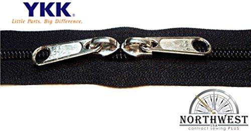 New Zipper - YKK #5 CN Zipper coil chain. Each yard comes with 2 sliders. (Black, 1 yard, 2 nickel sliders)