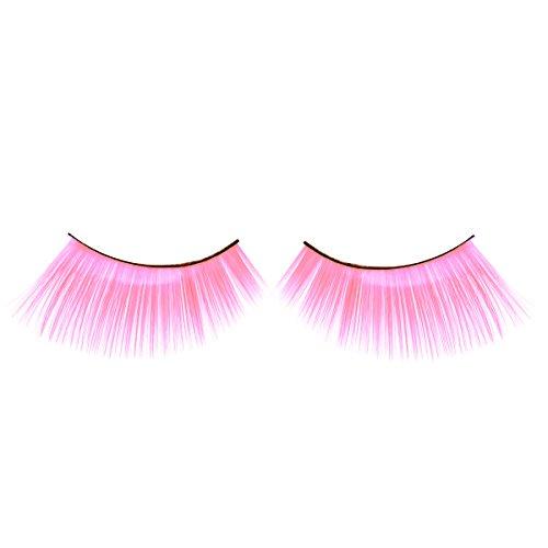 Hot Pink Feathered Eyelashes for Christmas Party Cosplay Costume Dramatic Feather False Eyelashes Long Party Use 3D Fake Eye Lashes Handmade by LK (Porcelain Makeup Halloween)