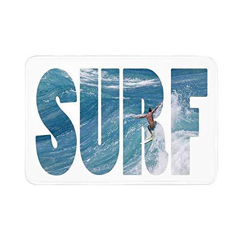 C COABALLA Surf Durable Door Mat,Surfer Riding Giant Majestic Ocean Wave in Hawaii Adrenalin Epic Athlete Sea Pacific for Living Room,15.7