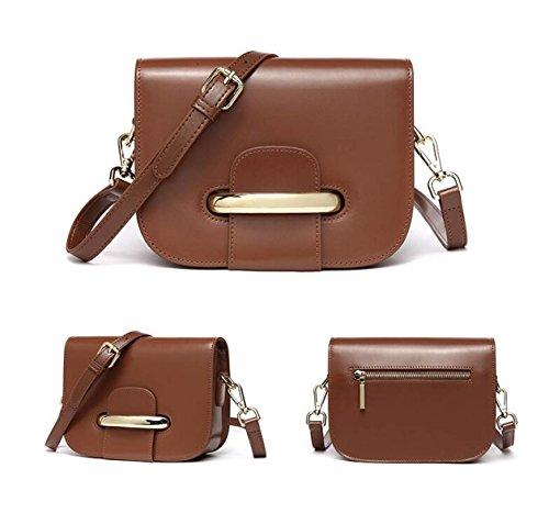 GSHGA Bolsos De Cuero Genuino Bolso De Hombro De Moda Paquete Diagonal Para Mujer Totes,Black Brown