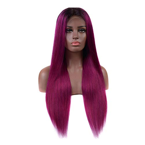 Purple Ombre Lace Front Wig Brazilian Straight Lace Front Human Hair Wigs For Black Women Two Tones Remy Hair,14inches,180%]()