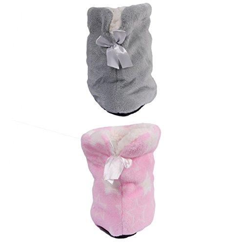 Lot Femme De Ozabi rose Bottines Gris Chaussons 2 Fourrés wItxXPp7xq