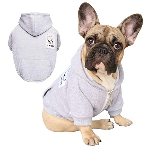 (iChoue Pets Dog Clothes Hoodie Hooded French Bulldog Pug Boston Terrier Pullover Shirt Cotton Winter Warm Coat Clothing - Grey/Size L)