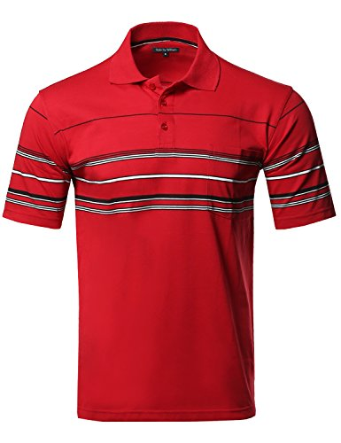 Style by William Basic Everyday Stripe Pocket Polo T-Shirt Red XL