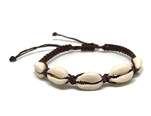 Cowrie Hawaiian Natural Shell Bead Bracelet Genuine Stretch Chip Reggae Jamaican for Women (Brown (Hawaiian Shell Jewelry)