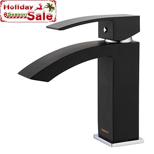 Faucet Lavatory Mixer (Bathroom Basin Faucet Waterfall Widespread Single Handle One Hole Brass Lavatory Vessel Mixer Taps (Matte Black))