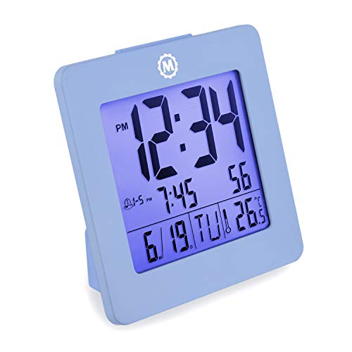 Marathon CL030050BL Digital Dual Alarm Clock with Day, Date, Temperature and Backlight. Color-Blue. Batteries Included. Latest - Digital Miniature Clock