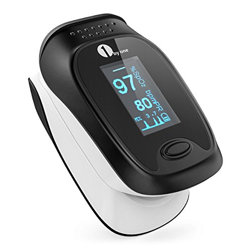 1byone Portable Instant Read Digital Fingertip Pulse Oximeter with OLED Display Screen, Carry Case, Lanyard and Batteries
