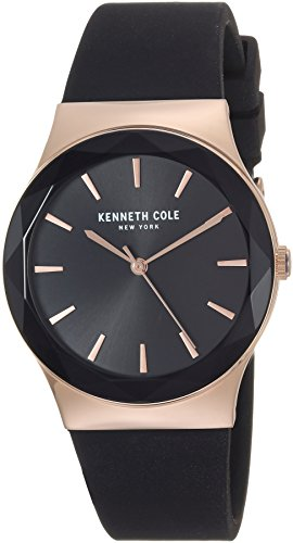 Kenneth Cole New York Women's Quartz Stainless Steel and Silicone Casual Watch, Color:Black (Model: KC50060001)