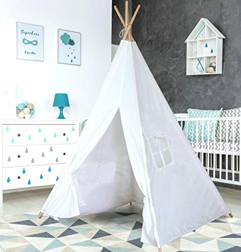 Teepee Tent for Kids | Tipi Tents Indoor Outdoor | Play Tent Foldable 5 Feet Tall 4 Poles | Customizable Tent | Large Childrens Teepee Tents for Girls and Boys Kids Teepee Tent | Strong Wooden Poles ()