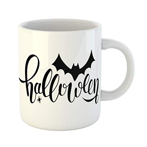 Emvency 11 Ounces Coffee Mug Autumn Hand Sketched Lettering Halloween Bat and Spider Drawing Modern Brush Party As Scary Celebration Black White Ceramic Glossy Tea Cup With Large C-handle ()