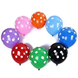 Tcplyn 12PCS Latex Polka Dots Balloons Colourful Balloons Wedding Birthday Party Decoration Balloons Accessories for Special Occasions Use