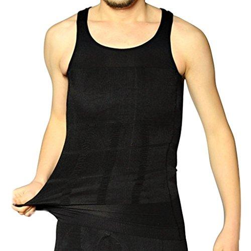 Yidarton Koerperformendes Bauchweg BodyShaper Unterhemd Kompressionsunterhemd Elastischen Weste fuer Herren (Schwarz, L)