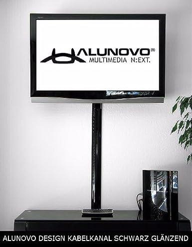 TV Design alluminio cavo canale in Nero Laccato Lucido in diverse lunghezze