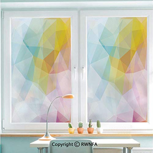 RWNFA No Glue Static Cling Glass Sticker Pale Modern Rainbow Ombre Colored Image Squares and Sharp Lines Decorative,22.8