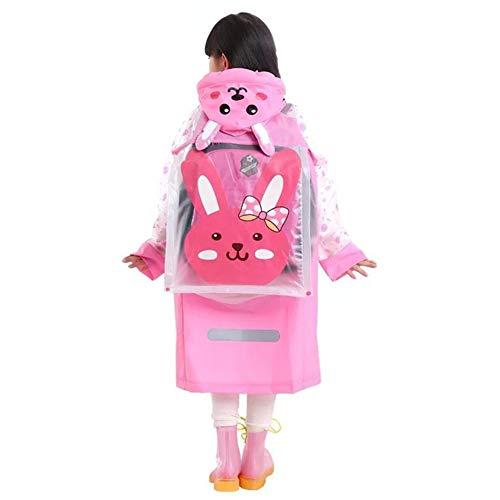 Sywwlov Kids Toddler Raincoat Hooded School Backpack Reusable Rain Ponchos Cape Jacket Rainwear (Pink, M(Fit 42.9''-46.8'' Height)) by Sywwlov (Image #2)