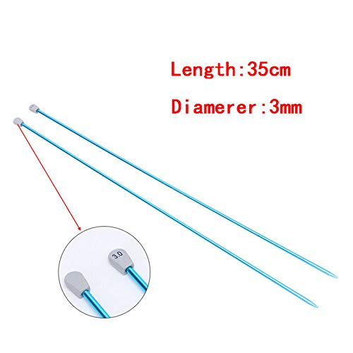 2PCS Aluminum Single Poin Knitting Needles Pins Straight DIY Sewing Weaving Tool (Size - 3.0 ()
