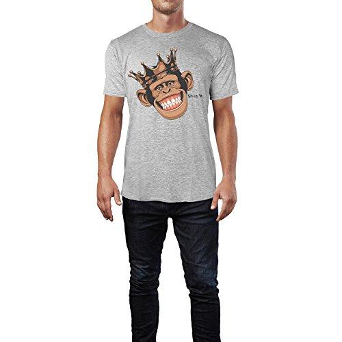 SINUS ART® Lustiger Affe mit Krone Herren T-Shirts in hellgrau Fun Shirt mit tollen Aufdruck