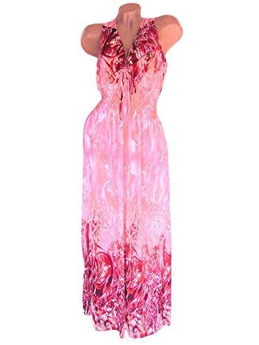 Damen Sommerkleid lang, Spitzeneinsatz im Rückenbereich, weichfließender Stoff aus 65 % Viskose, Rosa-Bordeaux, Nr. 801