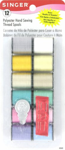 Singer Polyester Light Hand Thread, Assorted Colors, 12 Spools