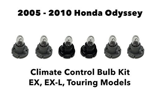 Genuine OEM Honda Odyssey (Set of 6 Bulbs) Heater A/C Climate Control Light Bulb Kit (EX, EX-L, Touring) 2005-2010 ()