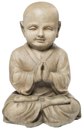 Alfresco Home Praying Buddha Statuary, Antique Brown