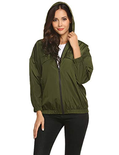 ZHENWEI Women's Active Outdoor Waterproof Rain Jacket Lightweight Hooded Raincoat with Pockets Army Green M ()