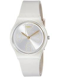 Sheerchic Silver Dial Beige Silicone Strap Ladies Watch GT107
