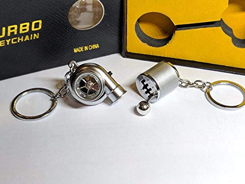 Be-Creative Electric LED Turbo Charger Keyring 2 Turbo Sounds,Spin,Light Retail Packing (Silver Gear + Silver Turbo):