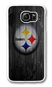 Samsung Galaxy S6 Case, Galaxy S6 Cover - Rugged Plastic Wood Steelers White Hard Shell Snap on Bumper Case Cover for Samsung Galaxy S6