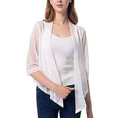 Women's Tie Front 3/4 Sleeve Shrug Sheer Wrap Cropped Bolero Top Thin Cardigan at Women's Clothing store