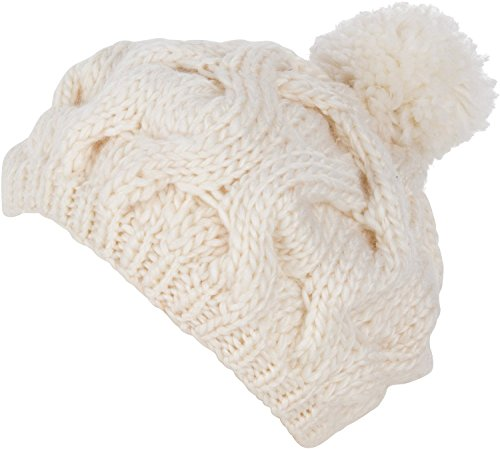 Priny Women's Stylish Cable Knit Thick Slouch Hat Crochet Cap (White) ()