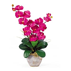 Nearly Natural 1026-BU Double Phalaenopsis Silk Orchid Flower Arrangement, Beauty 91