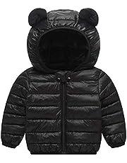 Happy Cherry Baby Boys Girls Down Cotton Coat with Bear Ear Jacket Lightweight Windproof Zip Up Hooded Coat Winter