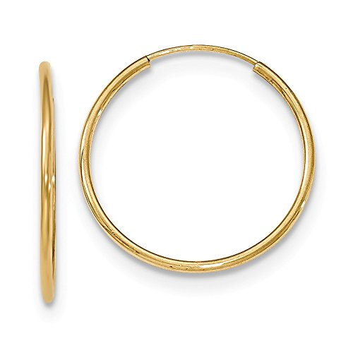 Designs by Nathan 10k Yellow Gold Round Seamless Endless Tube Hoop Earrings, Choice of Sizes (Slender 1.2mm x 25mm (about ()