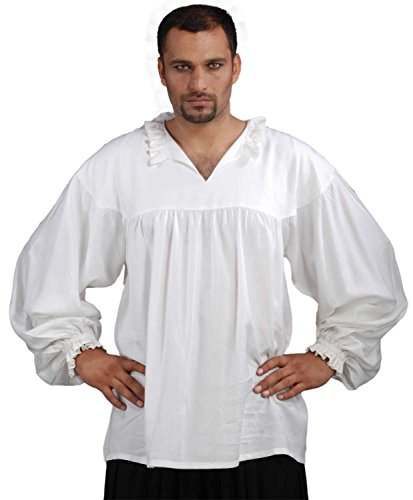 Medieval Poet's Pirate Early Renaissance Shirt Costume [White] (Small/Medium)