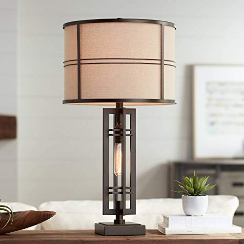 Elias Modern Industrial Table Lamp with Nightlight Oil Rubbed Bronze Off White Oatmeal Drum Shade for Living Room Bedroom Bedside Nightstand Office – Franklin Iron Works