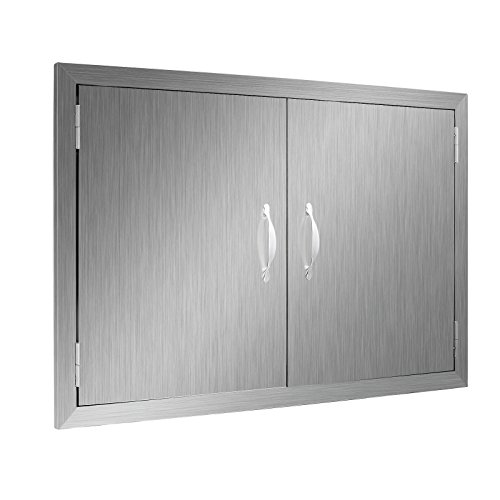 Happybuy BBQ Access Door Double Wall Construction 30.5W x 21H In. BBQ Island/Outdoor Kitchen Access Doors 304 Grade Brushed Stainless Steel Heavy Duty