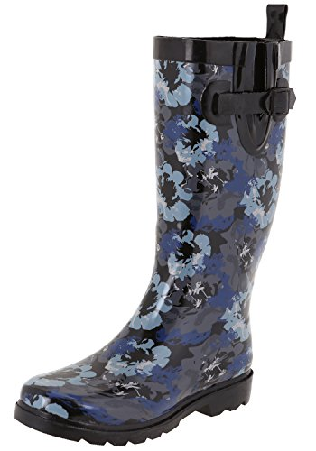 Capelli New York Ladies Wash Out Floral Printed Rain Boots Black Combo 10 by Capelli New York