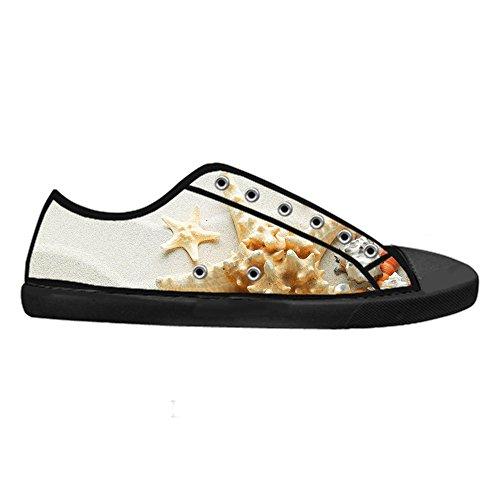 Con Stile Cheese Design Di Classico Canvas Lacci Traspirante Scarpe Stella Da Fresco top Low Pesce Personalizzato Sneaker Flat Nero Chiusura Donna 6rqH6wI